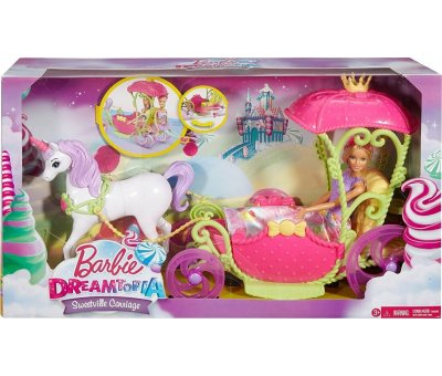 Barbie Dreamtopia Sweetville Carriage and Unicorn Baby Girls